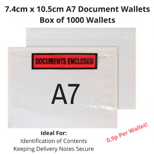 7.4cm x 10.5cm - A7 Document Wallets - Box Qty 1000 - £9.00 PER BOX